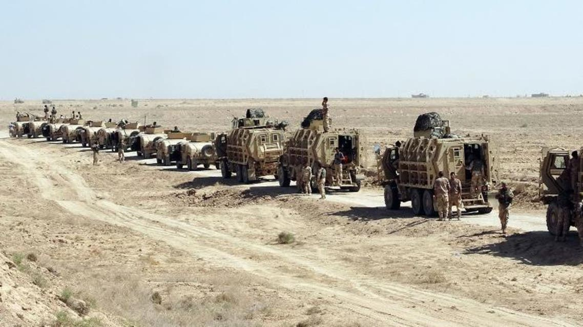 Iraqi Army soldiers patrol with new U.S.-made weapons and armored vehicles in an eastern suburb of Ramadi. (File: AP)