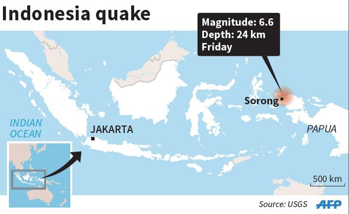 Map showing the epicenter of 6.6-magnitude quake that hit Indonesia Friday. afp