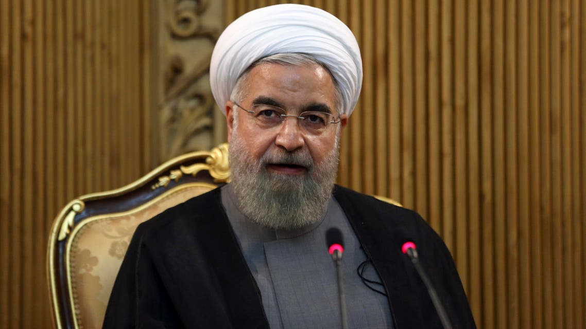 Iranian President Hassan Rouhani briefs media at the Mehrabad airport prior to leaving Tehran, Iran, for New York to attend the United Nations General Assembly, Thursday, Sept. 24, 2015. (AP)