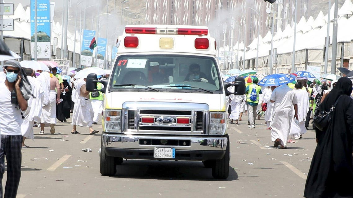 An ambulance evacuates victims following a crush caused by large numbers of people pushing at Mina, outside the Muslim holy city of Mecca September 24, 2015. REU