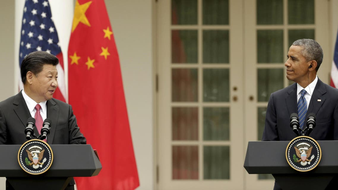 U.S. President Barack Obama and China's President Xi Jinping hold a joint news confernce in the Rose Garden of the White House in Washingto reuters