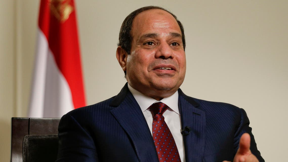 Egyptian President Abdel Fattah el-Sisi answers questions during an interview, Saturday, Sept. 26, 2015, in New York. (AP)