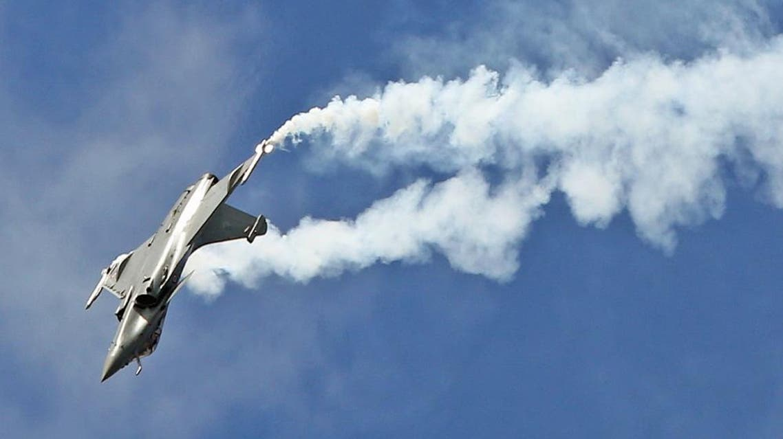 The Dassault made Rafale fighter jet performs its demonstration flight at the Paris Air Show in Le Bourget, north of Paris, Friday June 19, 2015. (AP)