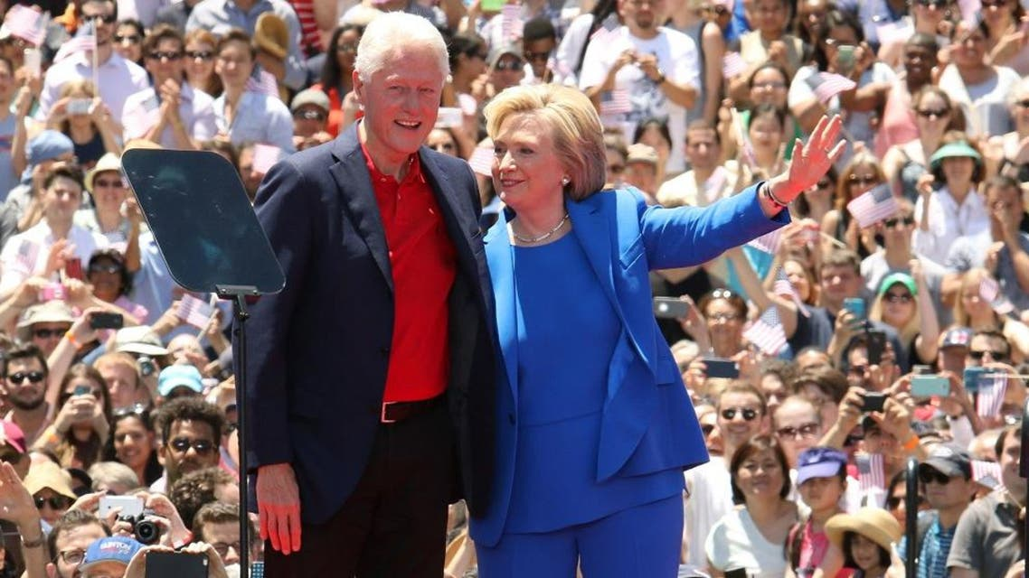 Democratic presidential candidate, former Secretary of State Hillary Rodham Clinton, right, and former President Bill Clinton ap