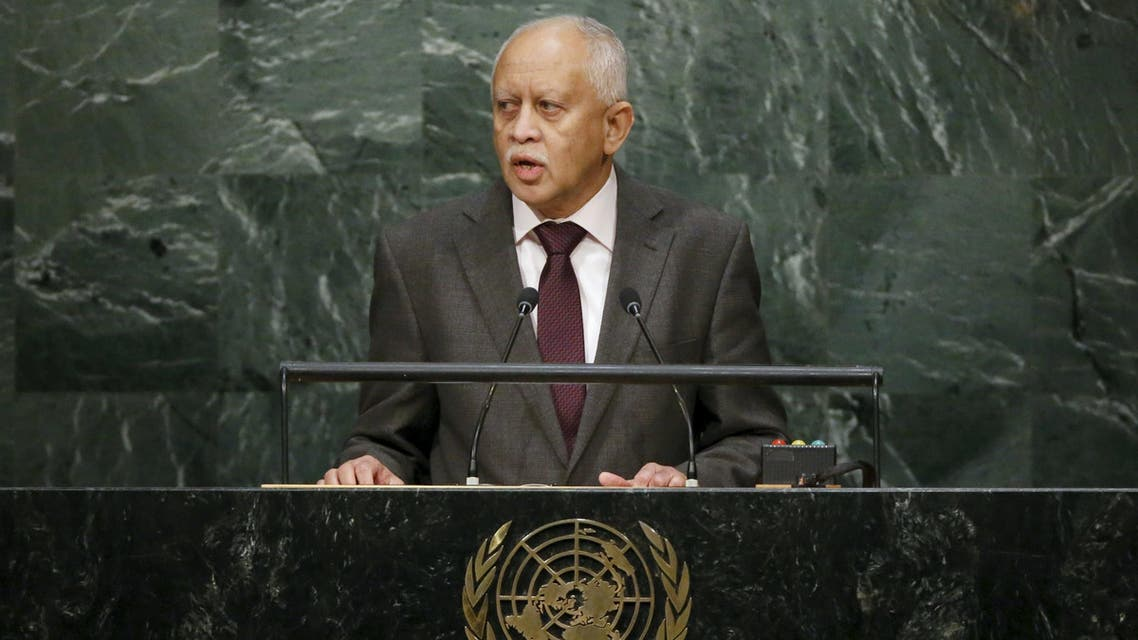 Foreign Minister Riad Yassin of Yemen addresses a plenary meeting of the United Nations Sustainable Development Summit 2015 at the United Nations headquarters in Manhattan, New York