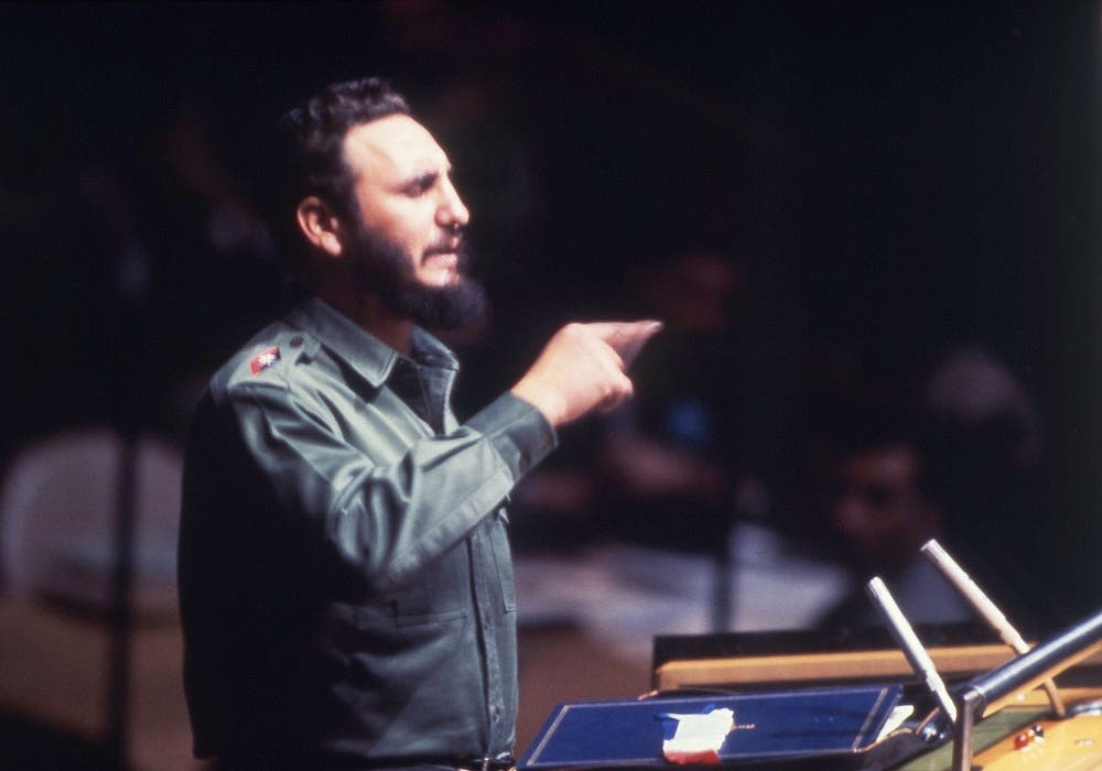 Cuban Prime Minister Fidel Castro speaking to United Nations General Assembly in New York, USA around Sept. 27, 1960. (AP)