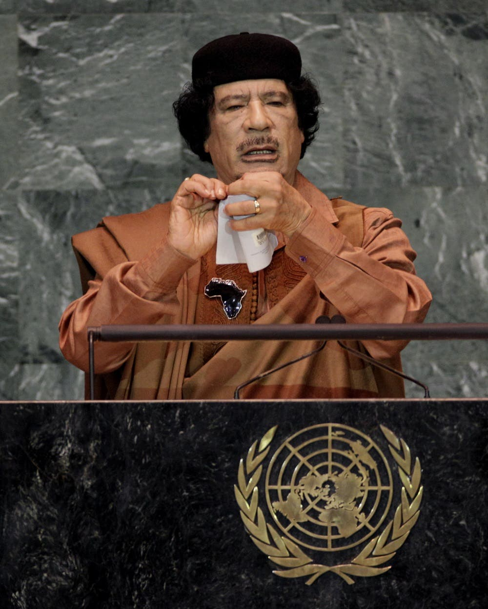 Libyan leader Moammar Gadhafi addresses the 64th session of the United Nations General Assembly, Wednesday, Sept. 23, 2009. (AP