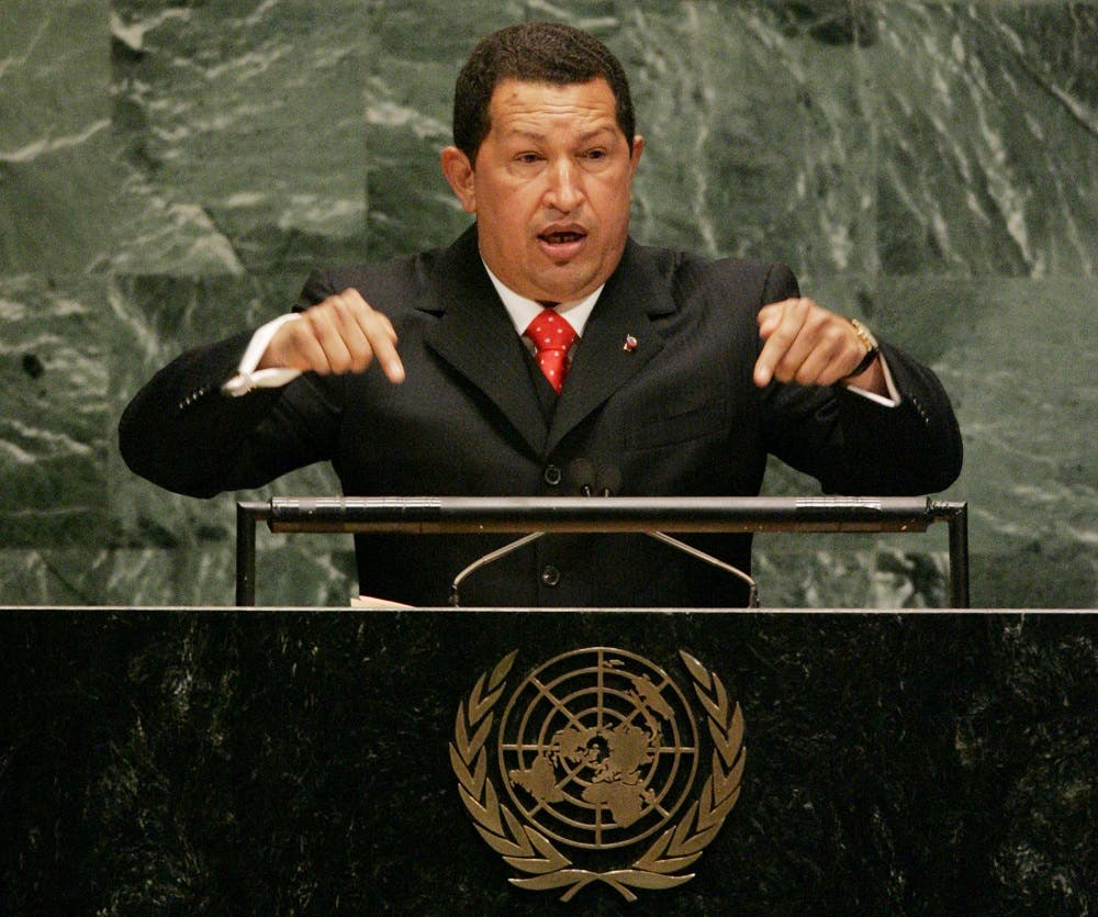 Venezuelan President Hugo Chavez addresses the 61st session of the United Nations General Assembly at U.N. headquarters, Wednesday, Sept. 20, 2006. (AP
