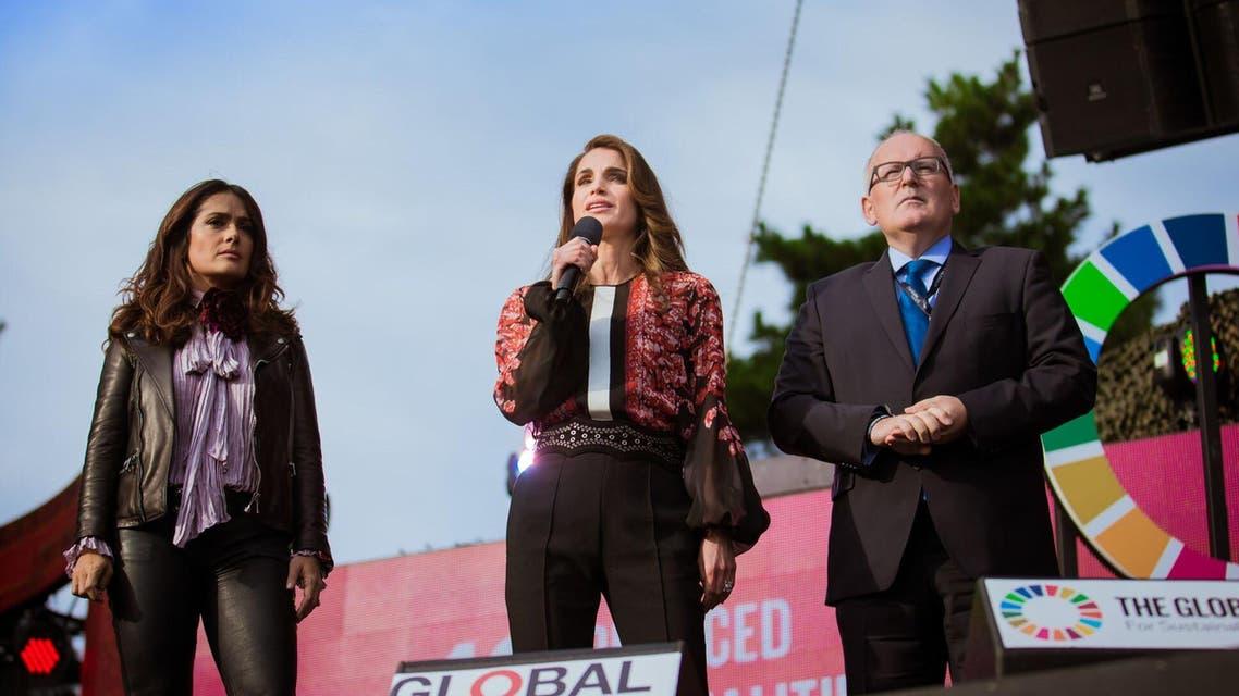 الملكة رانيا العبدالله خلال مشاركتها في مهرجان المواطن العالمي السنوي الرابع في نيويورك