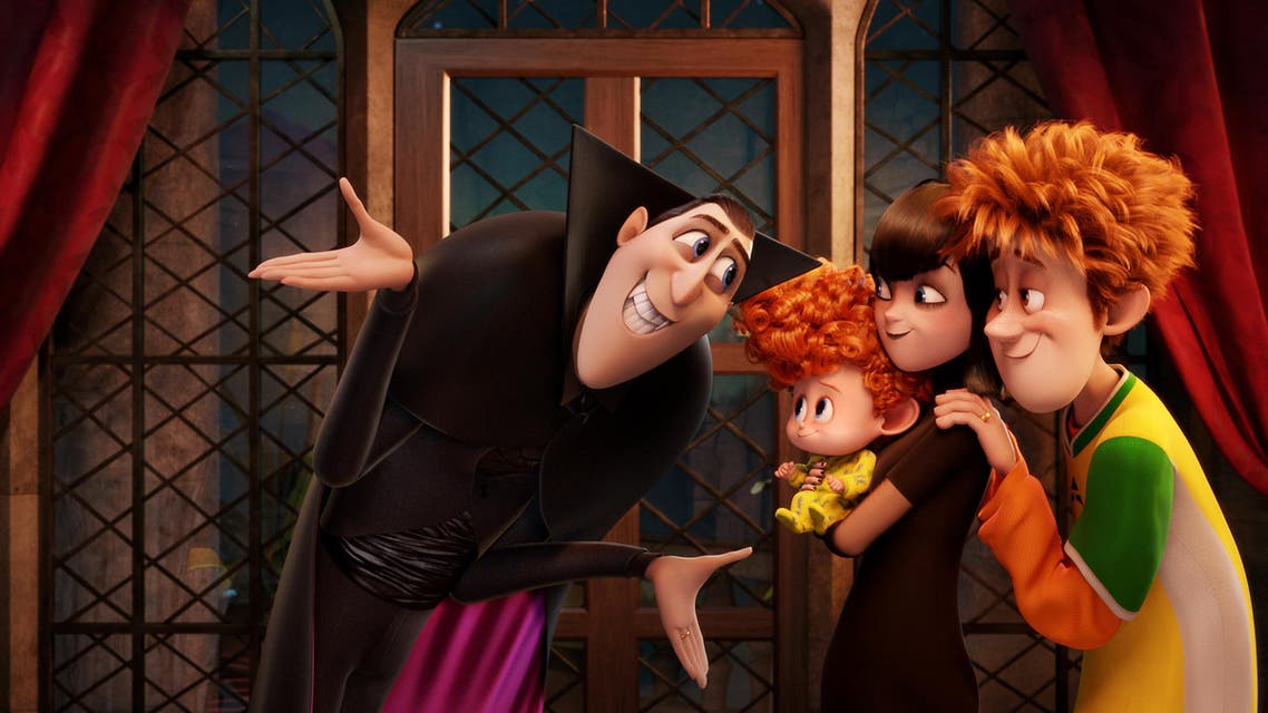 """In this image released by Sony Pictures Animation, from left, Dracula, voiced by Adam Sandler, Dennis, voiced by Asher Blinkoff, Mavis, voiced by Selena Gomez, and Jonathan, voiced by Andy Samberg appear in a scene from in Columbia Pictures and Sony Pictures Animation's """"Hotel Transylvania 2."""" (Sony Pictures Animation via AP)"""