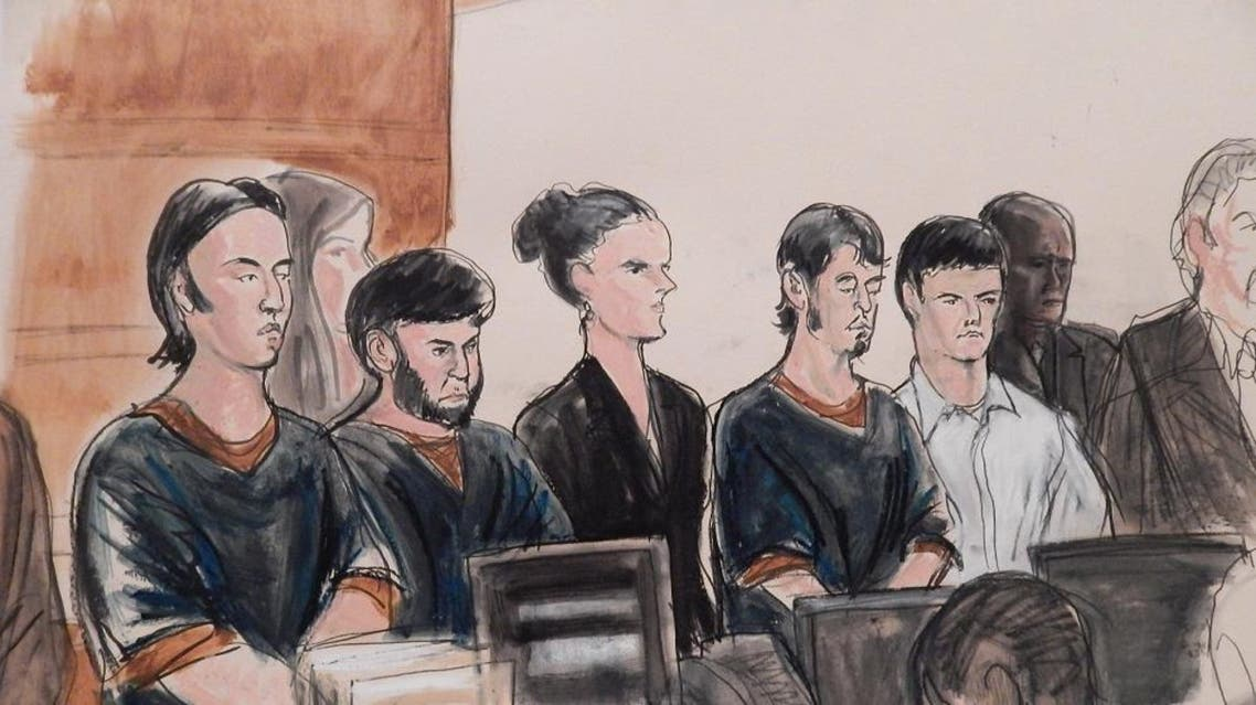 Four men accused of plotting to send U.S. residents overseas to fight for the Islamic State, Akhror Saidakhmetov, left, Abror Habibov, second from left, Abdurasul Hasanovich Juraboev, fourth from left, and Dilkhayot Kasimov, fifth from left, appear in a New York City courtroom Wednesday, April 8, 2015. (File: AP)