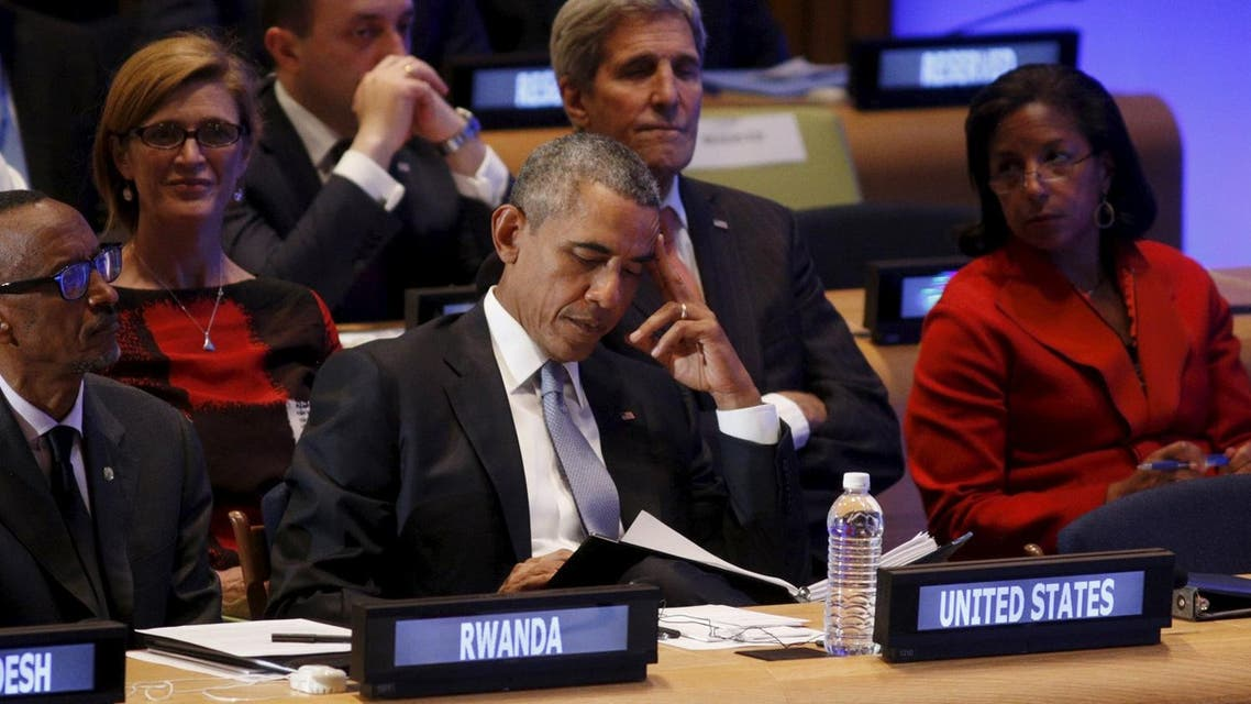 U.S. President Obama looks down during the Leaders' Summit on Peacekeeping at the United Nations General Assembly in New York