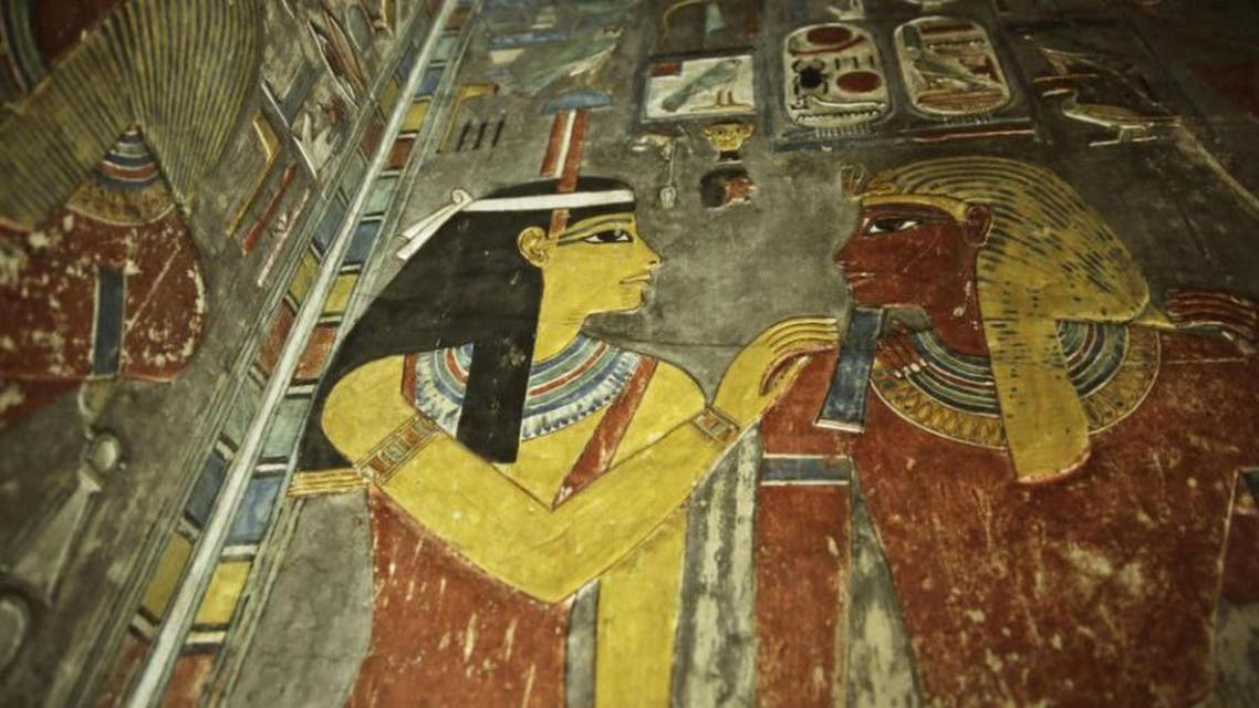 Carvings are seen on a wall at the Horemheb tomb in the Valley of the Kings in Luxor, Egypt, Tuesday, Sept. 29, 2015. (AP)