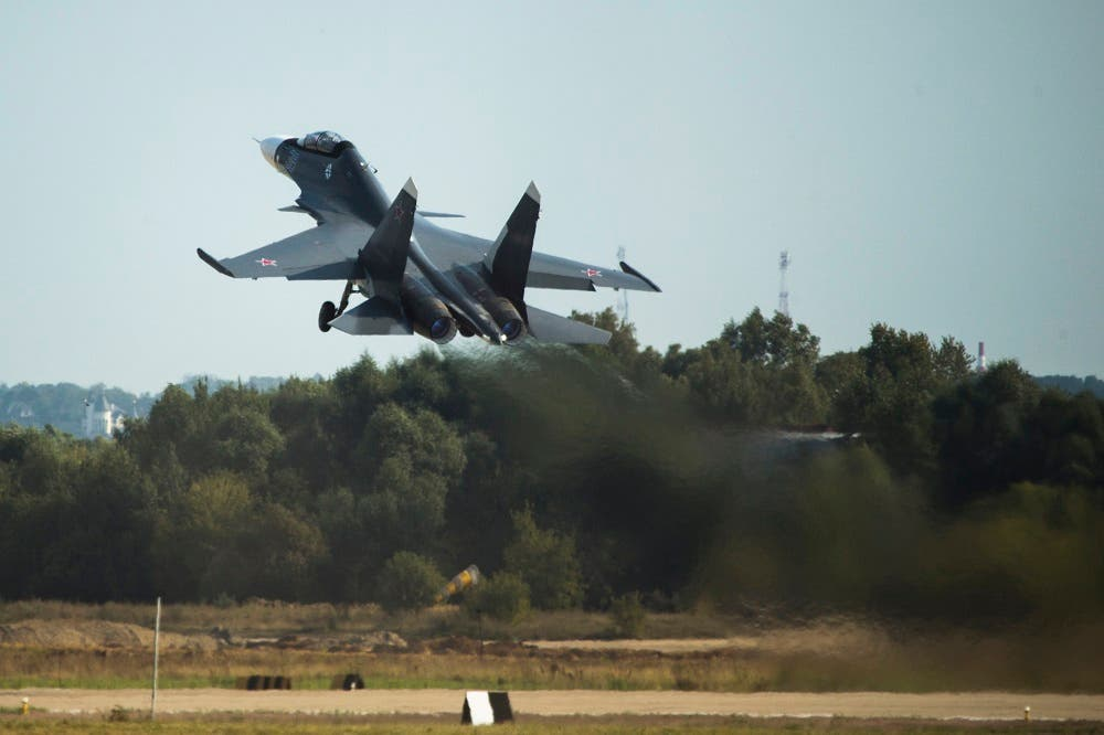 Russian air force Su-30MKI fighter jet takes off during the MAKS-2015 International Aviation and Space Show in Zhukovsky, outside Moscow, Russia. (File: AP)