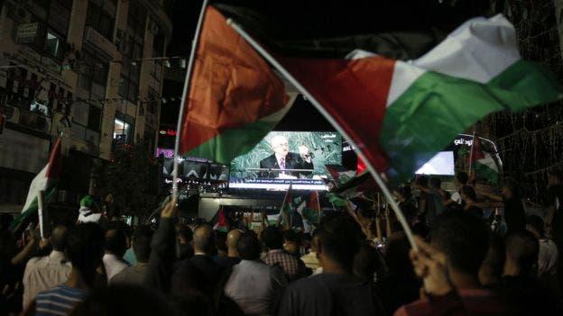 فلسطينيون في رام الله يتابعون كلمة عباس في الأمم المتحدة