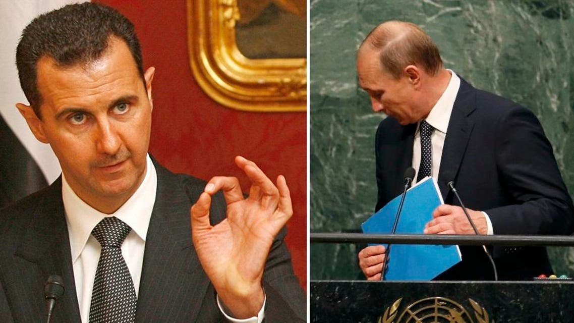 As expected, Putin (R) glossed over Assad's (L) brutal crackdown on peaceful protestors demanding greater freedoms. (AFP and Reuters)