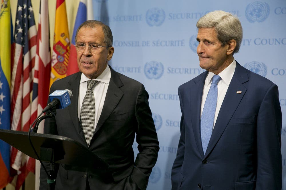 US Secretary of State John Kerry (R) and Russia Foreign Minister Sergey Lavrov speak to the media after a meeting concerning Syria at the United Nations headquarters in New York on September 30, 2015. afp