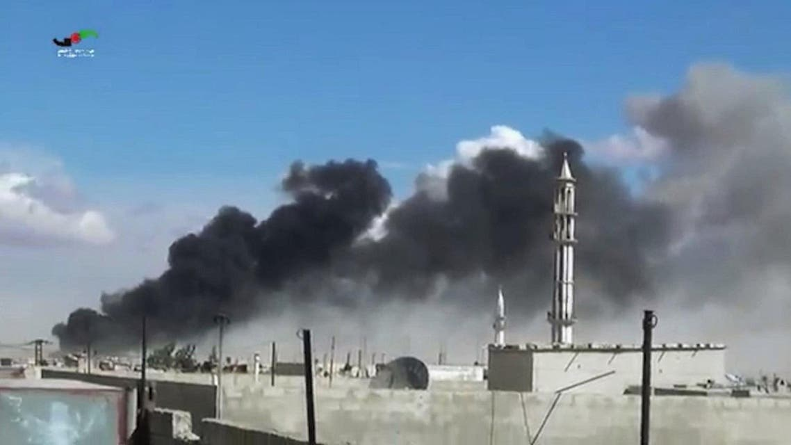 In this image made from video provided by Homs Media Centre, smoke rises after airstrikes by military jets in Talbiseh of the Homs province. (AP)
