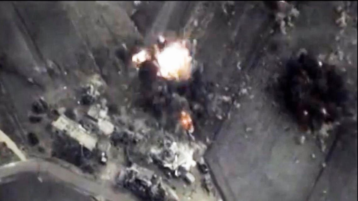 In this photo made from the footage taken from Russian Defense Ministry official web site on Thursday, Oct. 1, 2015 a bomb explosion is seen in Syria. (AP)