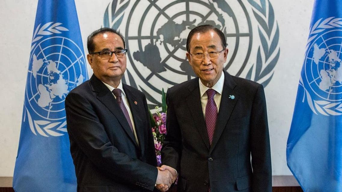 Ri Su Yong, Foreign Minister of North Korea (L) meets with United Nations Secretary General Ban Ki-moon on October 1, 2015 in New York City. (AFP)