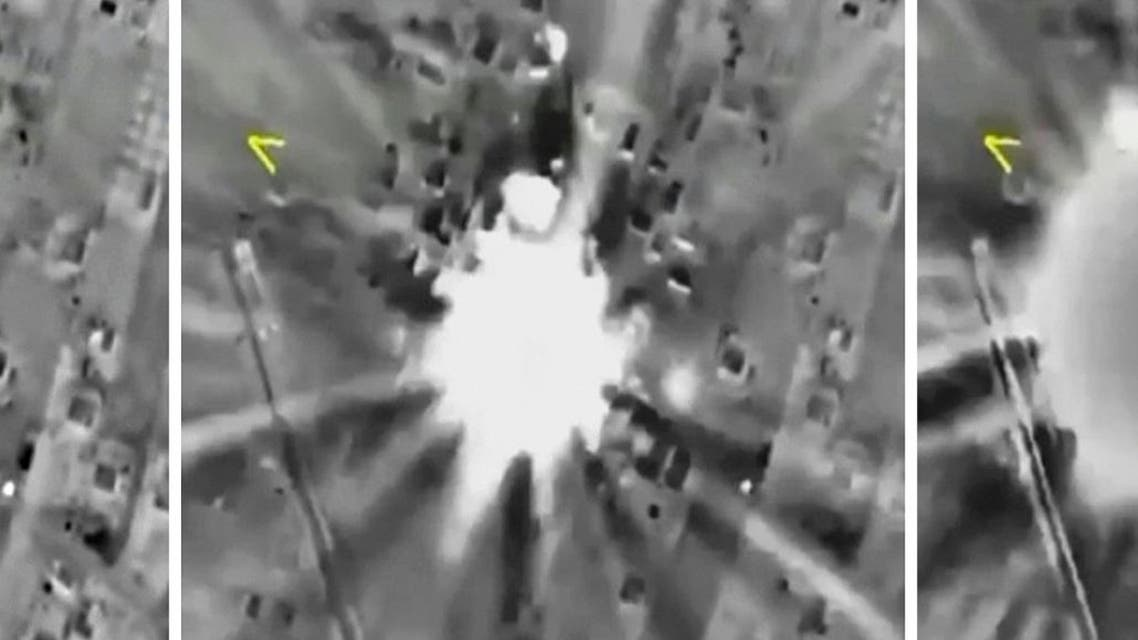 Combination of frame grabs shows airstrikes carried out by Russian air force hitting target in Syria. (Reuters)