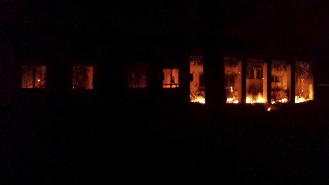 Fire is seen inside a Medecins Sans Frontieres (MSF) hospital building after an air strike in the city of Kunduz, Afghanistan in this October 3, 2015 MSF handout photo. (Reuters)