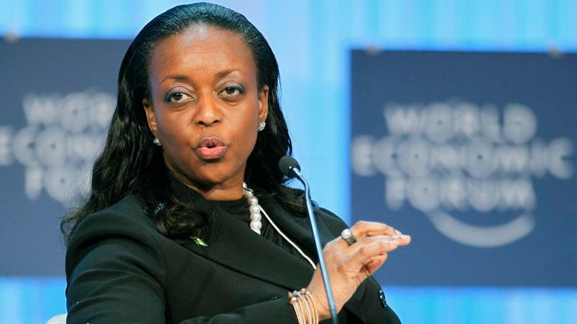 Nigeria's Minister of Petroleum Resources Diezani Alison-Madueke gestures as he speaks during a session at the World Economic Forum in Davos, Switzerland, Friday, Jan. 27, 2012.