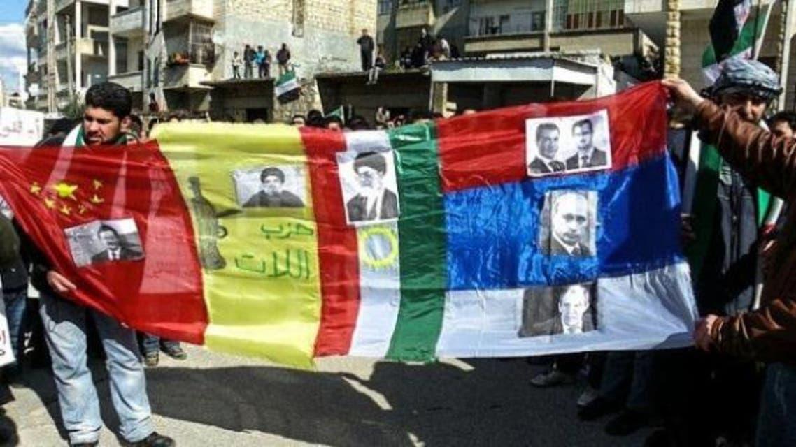 متطاهرون سوريون ضد التدخل الروسي الايراني والميليشيات التابعة لها في سوريا