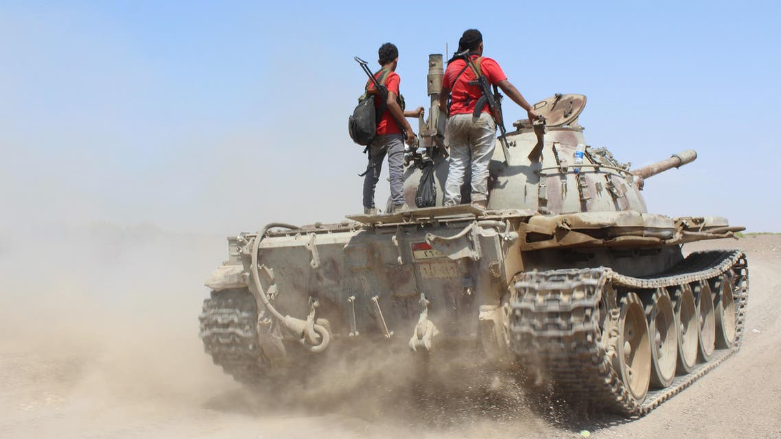 Fighters against Shiite rebels known as Houthis ride on a tank near the strait of Bab al-Mandab, west of the southern port city of Aden, to take back the control of the strait, Yemen, Friday, Oct. 2, 2015. (AP)