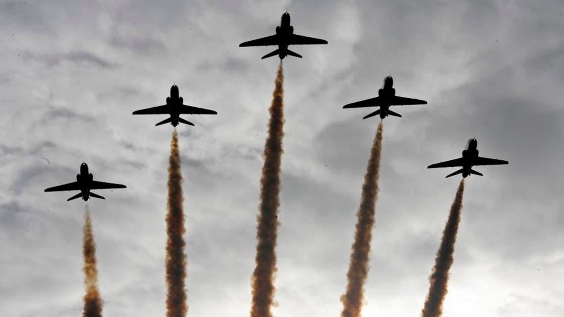 Hawk aircraft at the Royal Air Force base at Scampton, England, ap