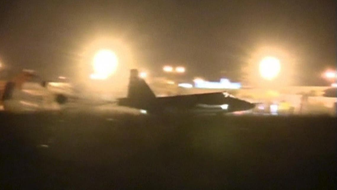 A frame grab taken from footage released October 1, 2015, shows a Russian military jet taxiing on runway shortly after the landing in Syria. (File: Reuters)