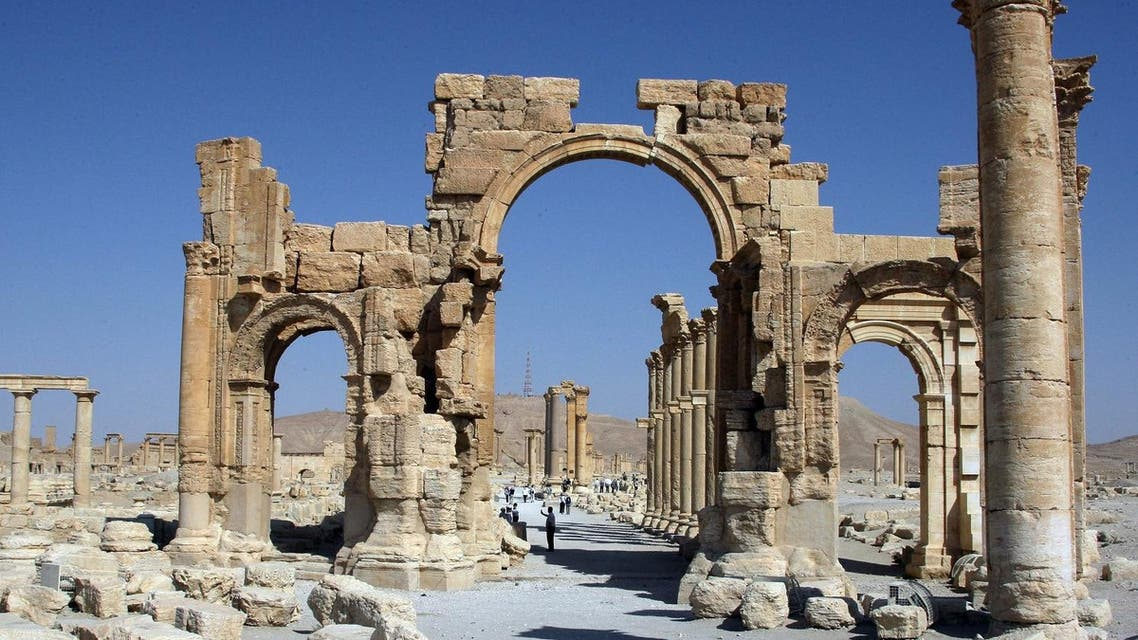 A file picture taken on June 19, 2010 shows the Arch of Triumph among the Roman ruins of Palmyra, 220 kms northeast of the Syrian capital Damascus. (AFP)