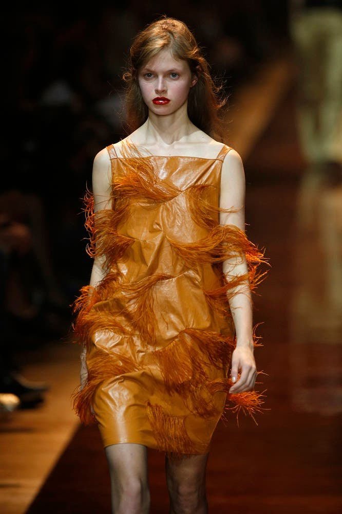 A model wears a creation for Nina Ricci's Spring-Summer 2016 ready-to-wear fashion collection. (AP)