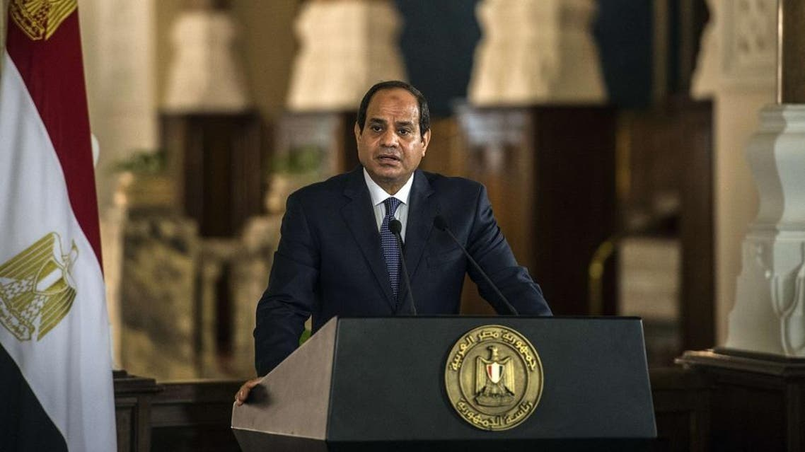 Egyptian President Abdul Fattah al-Sisi talks during a press conference at the presidential palace in Cairo on October 4, 2015. (AFP)