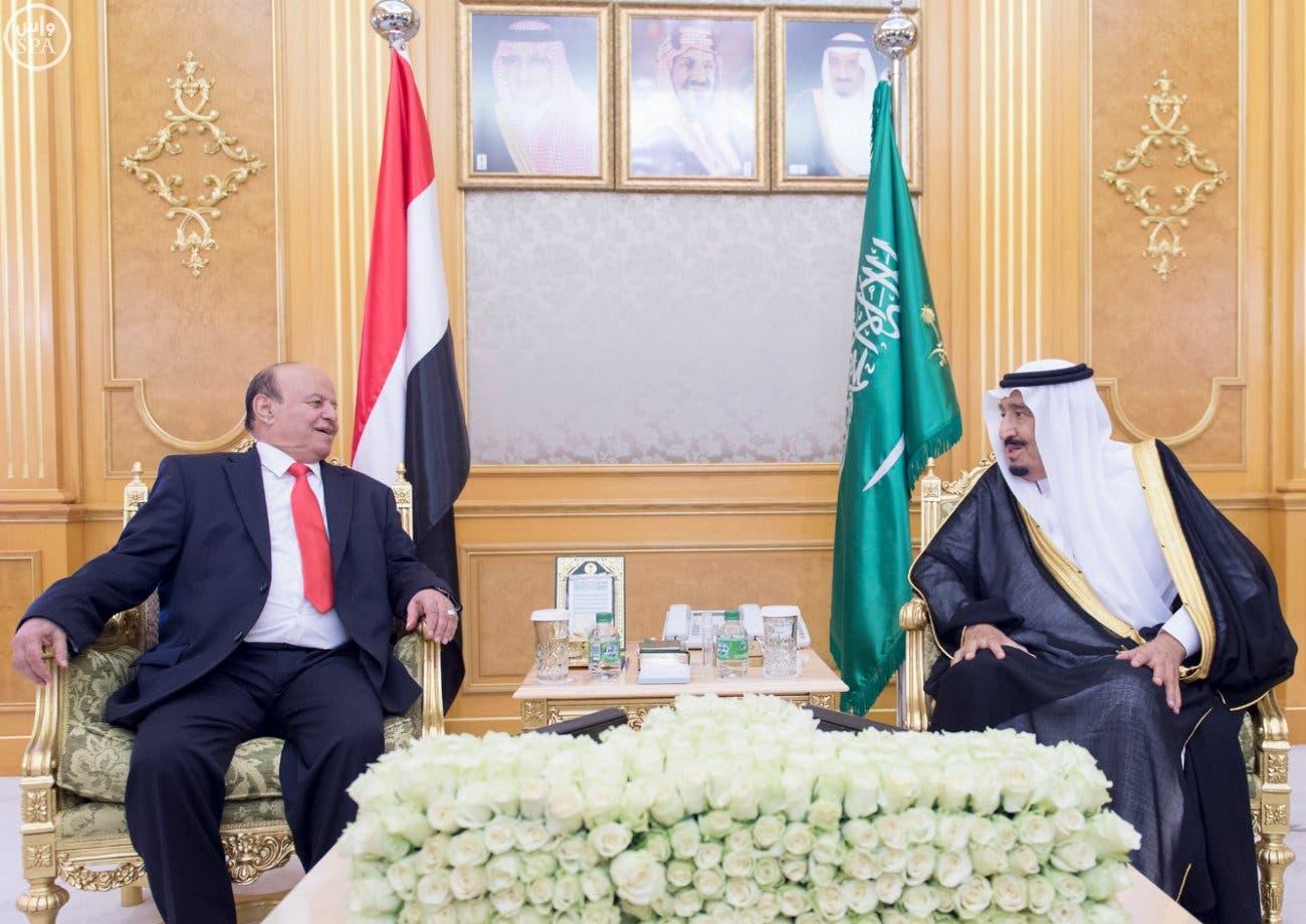 Saudi King Salman bin Abdulaziz receives Yemeni President Abed Rabbo Mansour Hadi at the Royal Court at Al-Salam Palace on Monday Oct. 5, 2015.  (SPA)