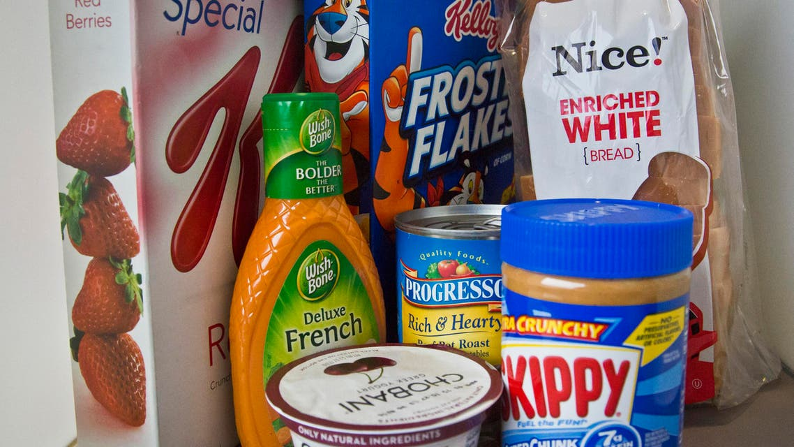Foods that might have added sugar or another sweetener like high-fructose corn syrup as an ingredient are pictured Wednesday, March 4, 2015, in New York. New guidelines published by the World Health Organization on Wednesday say the world is eating too much sugar and people should slash their sugar intake to just 5 to 10 percent of their overall calories. (AP Photo/Bebeto Matthews)