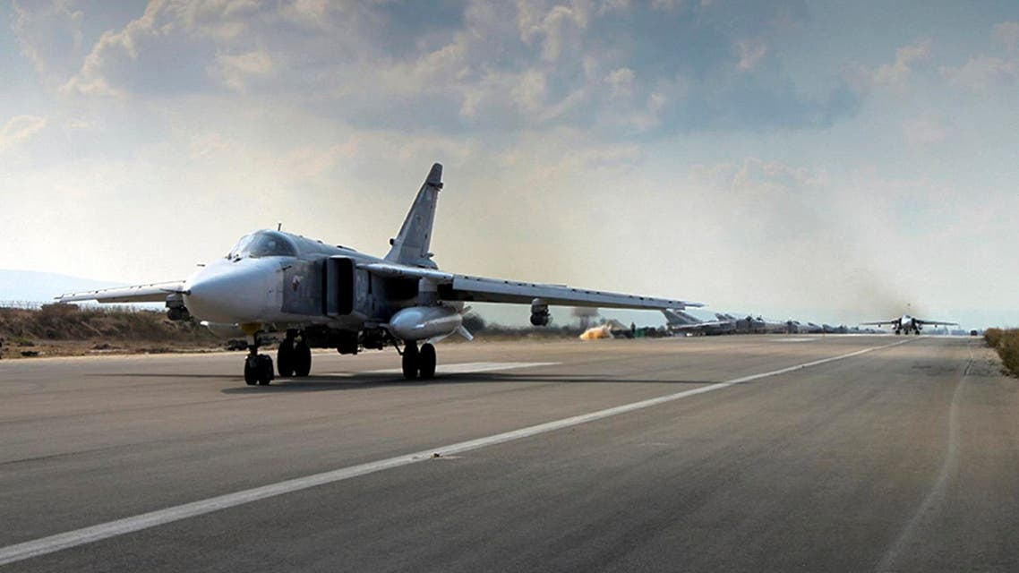 A Russian SU-24M jet fighter prepares to take off from an airbase Hmeimim in Syria. (AP)