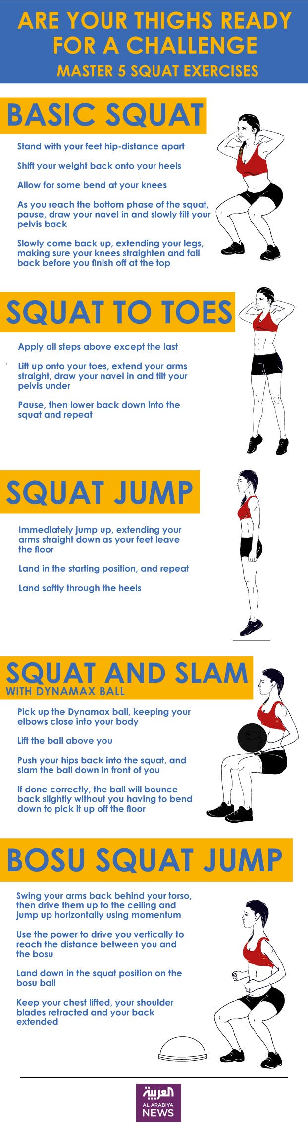 Infographic: Are your thighs ready for a challenge? Master 5 squat exercises