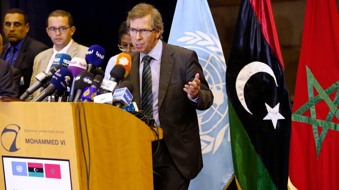 U.N. representative for Libya, Bernardino Leon, gestures as he addresses reporters in Skhirat, Morocco. (File photo: AP)