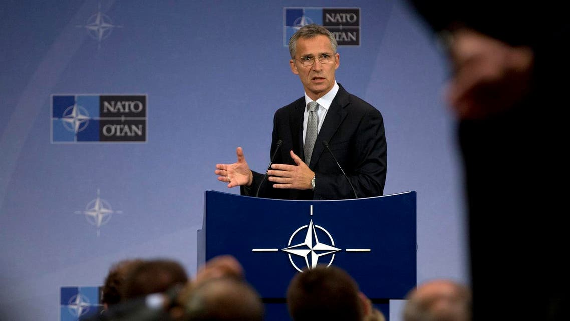NATO Secretary General Jens Stoltenberg speaks during a media conference at NATO headquarters in Brussels. (AP)