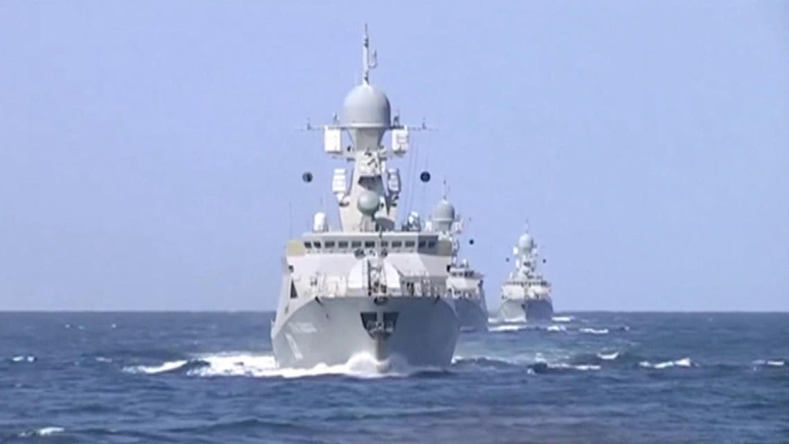 Frame grab shows shows Russian warships sailing in the Caspian Sea. (Reuters)