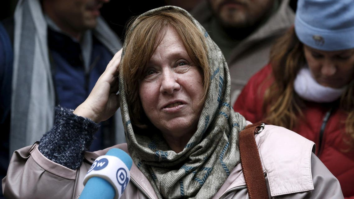 """Belarussian author Svetlana Alexievich answers journalists' questions after a news conference in Minsk, Belarus, October 8, 2015. Alexievich has won the Nobel Prize for Literature for her portrayal of life in the former Soviet Union which the Swedish Academy said was """"a monument to suffering and courage in our time."""" REUTERS/Vasily Fedosenko"""