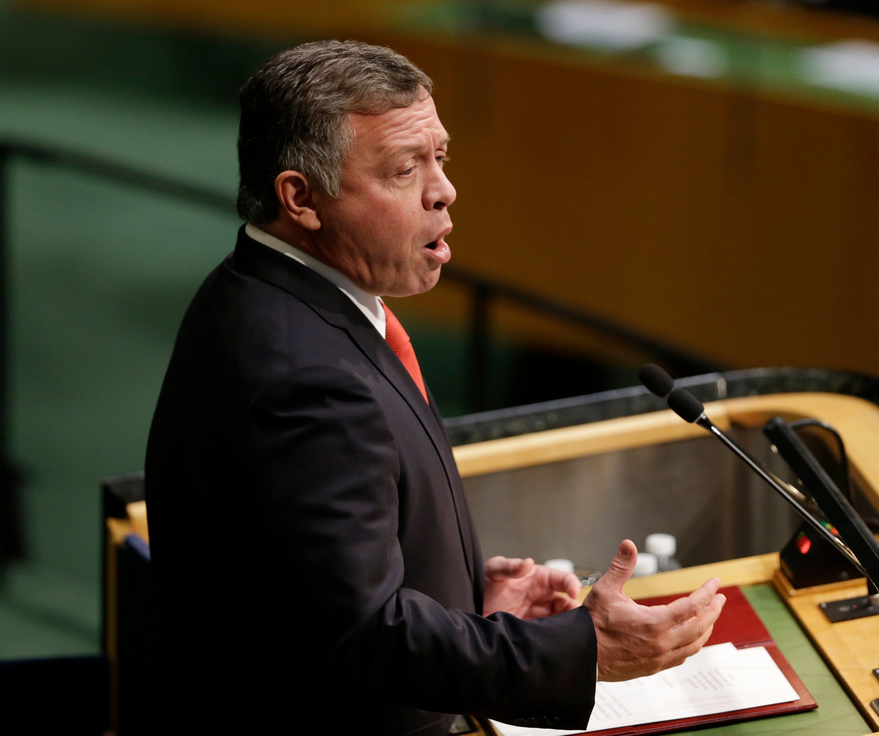 Abdullah II Ibn Al Hussein, King of Jordan, speaks during the 70th session of the United Nations General Assembly at U.N. headquarters, Monday, Sept. 28, 2015.  (AP)