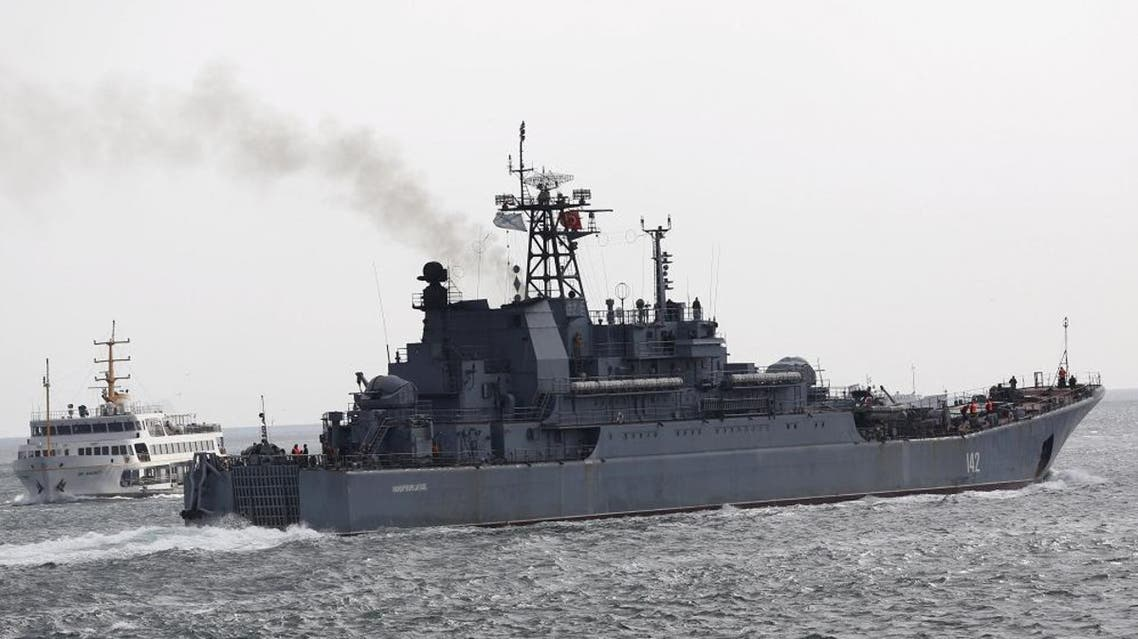 The Russian Navy's large landing ship Novocherkassk sails in the Bosphorus, on its way to the Mediterranean Sea, in Istanbul, Turkey, Oct.  8, 2015. (Reuters)