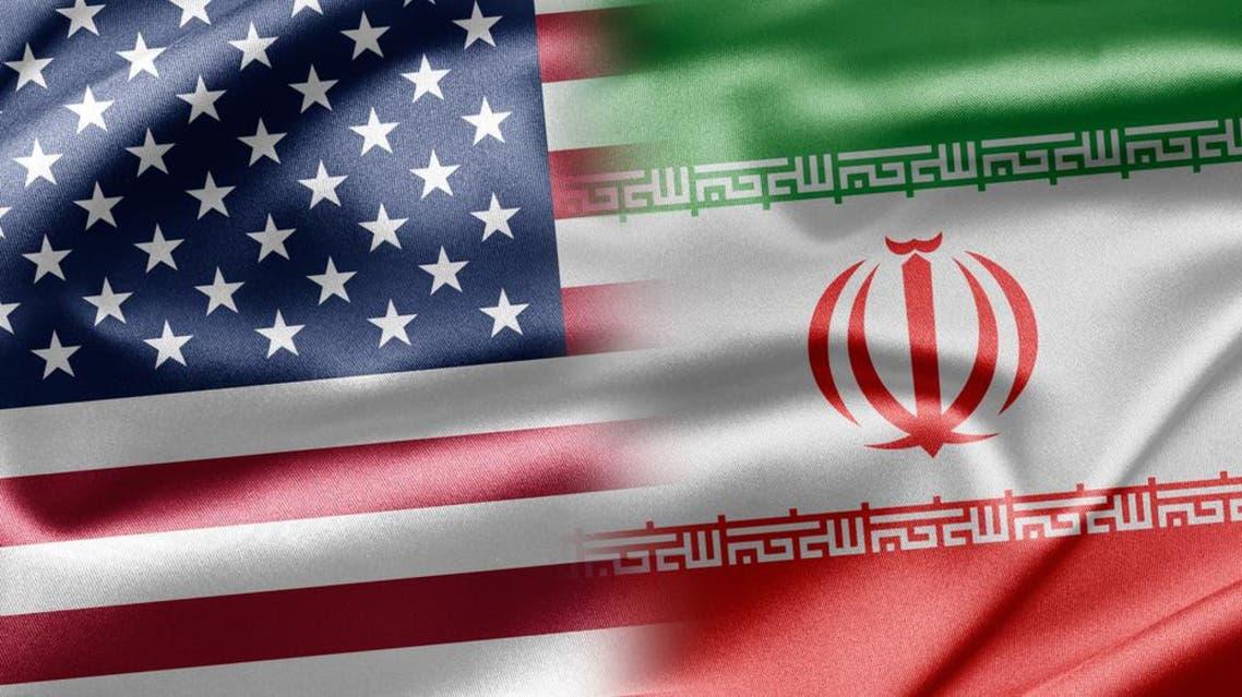 علم إيران و علم أميركا