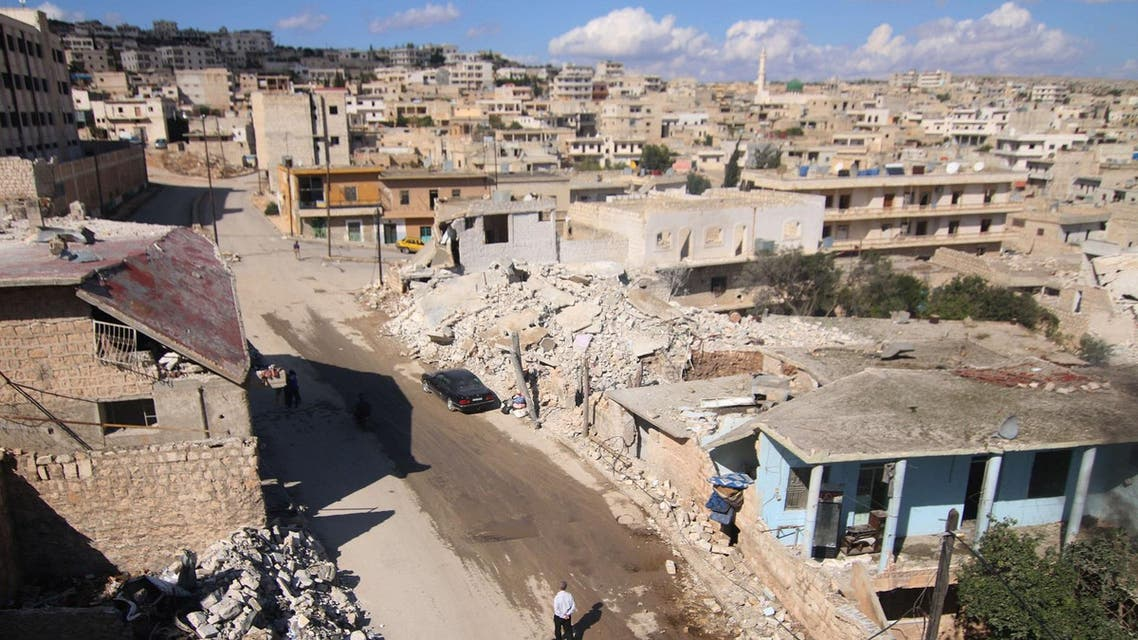 A general view shows damaged buildings in the town of Darat Azzah, west of the northern Syrian city of Aleppo, following reported bombings by government forces on Oct. 7. (AFP)
