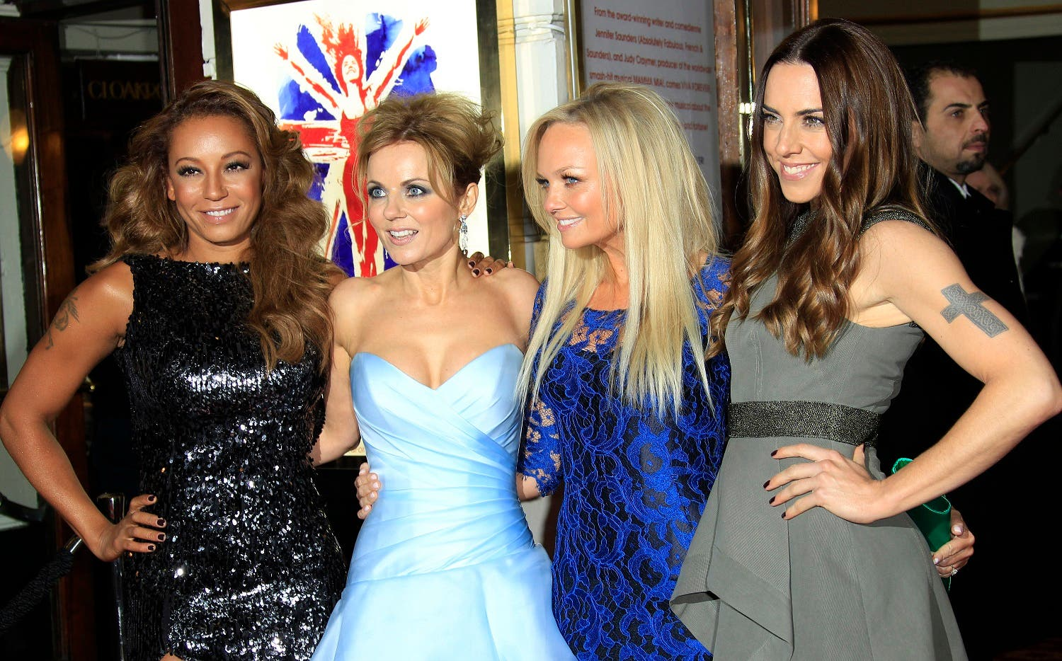 From left, Mel B, Geri Halliwell, Emma Bunton and Mel C arrive for Viva Forever! Press Night, a musical based on the songs of the Spice Girls, at the Piccadilly Theatre in central London. (File photo: AP)