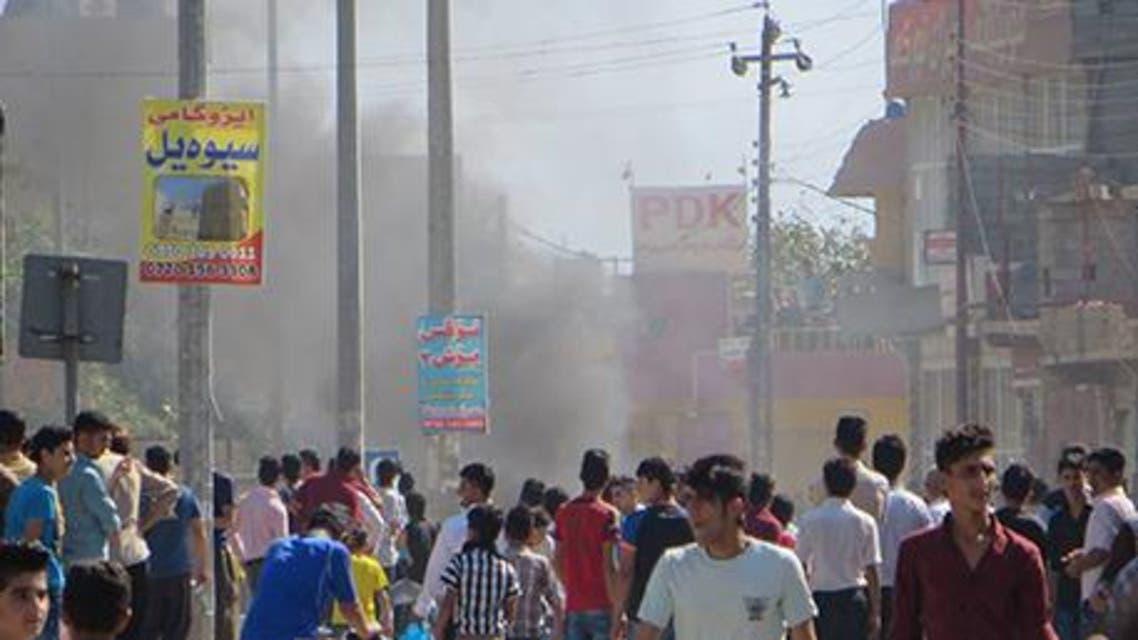 جانب من التظاهرات في السليمانية في كردستان العراق