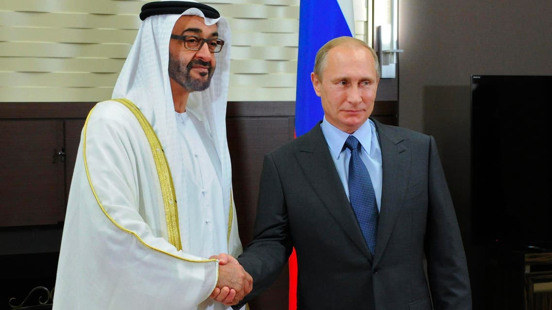 Russian President Vladimir Putin and the Crown Prince of Abu Dhabi Mohammed bin Zayed Al Nahyan shake hands during their meeting in the Bocharov Ruchei residence in Sochi, Russia, Thursday, Oct. 23, 2014. (AP