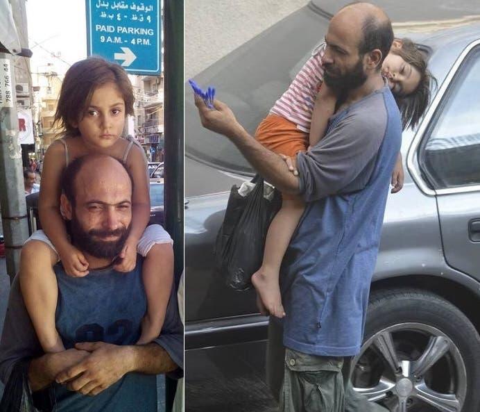 عبدالحليم العطار وابنته ريم، كان عاملاً بمصنع شوكولا وبائعاً لأكياس النفايات في دمشق